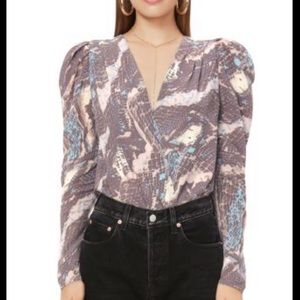 NWT AFRM Nora Puff-Sleeve Bodysuit Abstract Snake